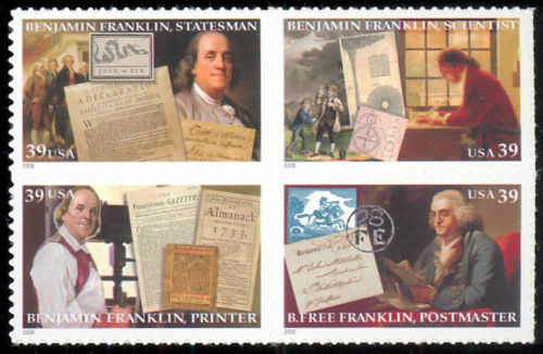 2006 39c Benjamin Franklin, Block of 4 Scott 4021-24 Mi