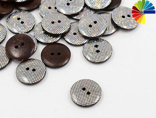 15 botones de madera 2-agujero 20mm holograma