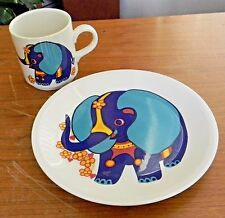 Vintage VILLEROY & BOCH Blue ELEPHANT Child's CUP PLATE Set Luxembourg Orig Tags