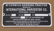 Id Serial Number Plate For Mccormick Deering 10 20