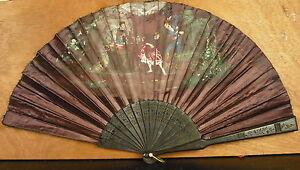 Large éventail En Soie Vers 1900 Silk Fan Faecher Ventaglio Seda Abanico 风扇