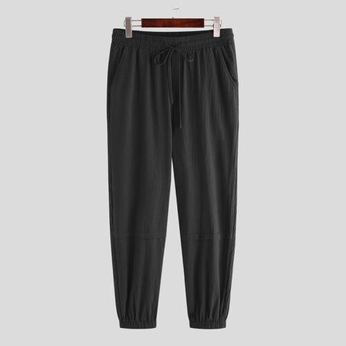 Men/'s Casual Linen Loose Drawstring Harem Pants Hip Hop Drop Crotch Trousers New