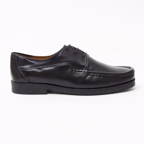 Lucini Formelle Hommes Mouton Noir en Cuir 3 Œillet Chaussures Confort Mariage Bureau Travail
