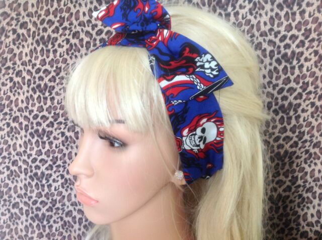 ROYAL BLUE FLAME SKULL ROSE PRINT BENDY BOW WIRE WIRED HAIR SCARF HEAD BAND