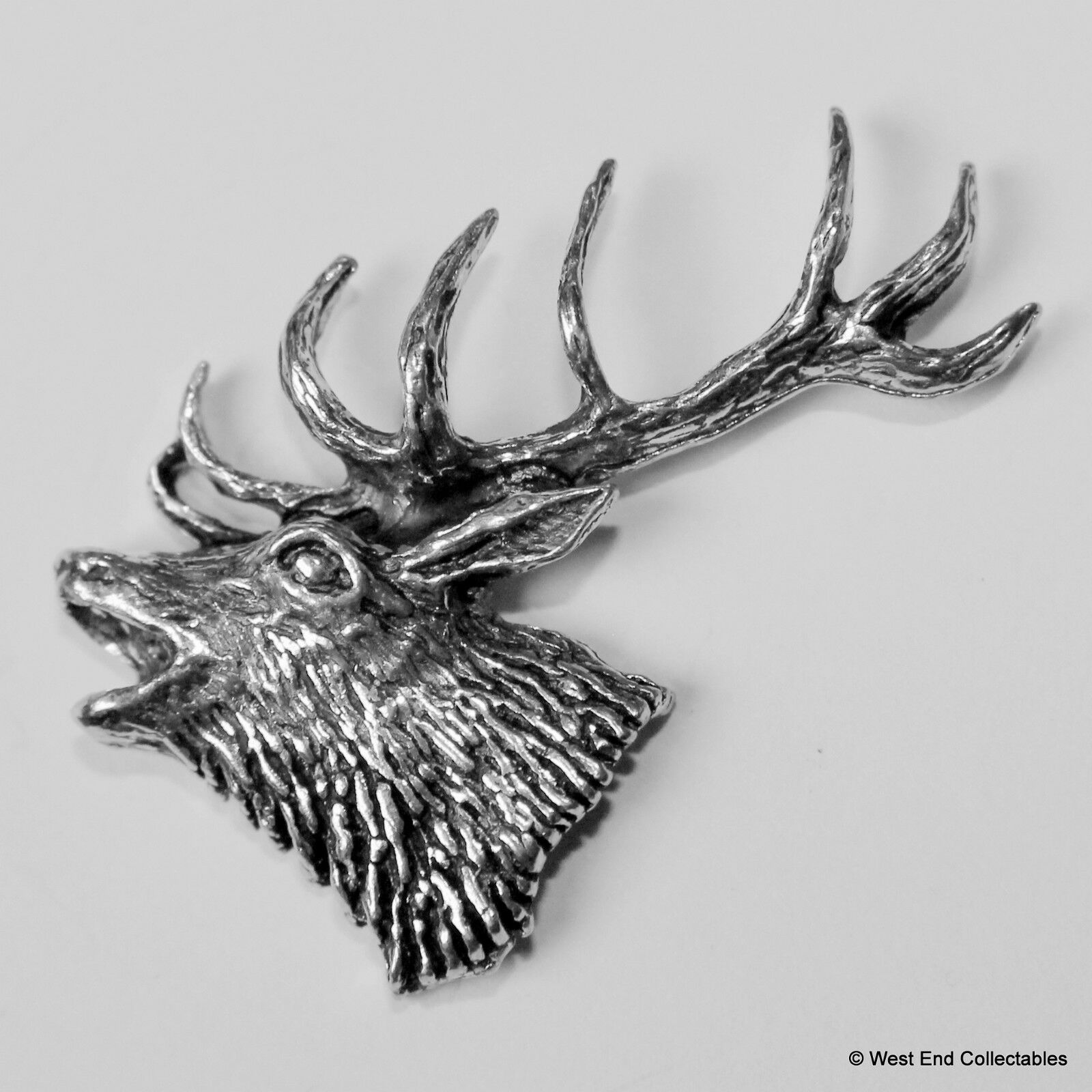 pin hunting artisan red farm head stag deer c antler signed countryside s brooch british pewter