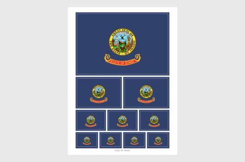 10 Stickers Various Sizes Idaho State Flag Weatherproof Sticker Sheet