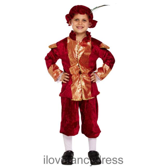 BOYS TUDOR BOY PRINCE KING FANCY DRESS COSTUME