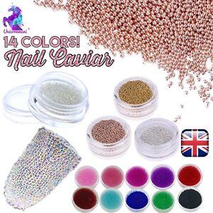 CAVIAR-BEADS-ROSE-GOLD-Crystal-3D-Micro-Ball-Pixie-Nail-Art-Decoration-Glass-UK