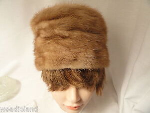 Vintage-Pill-Box-Honey-Blonde-Fur-Womans-Hat-SMALL-20-034-Inside-Brim