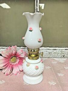 Vintage Miniature Milk glass Oil Lamp