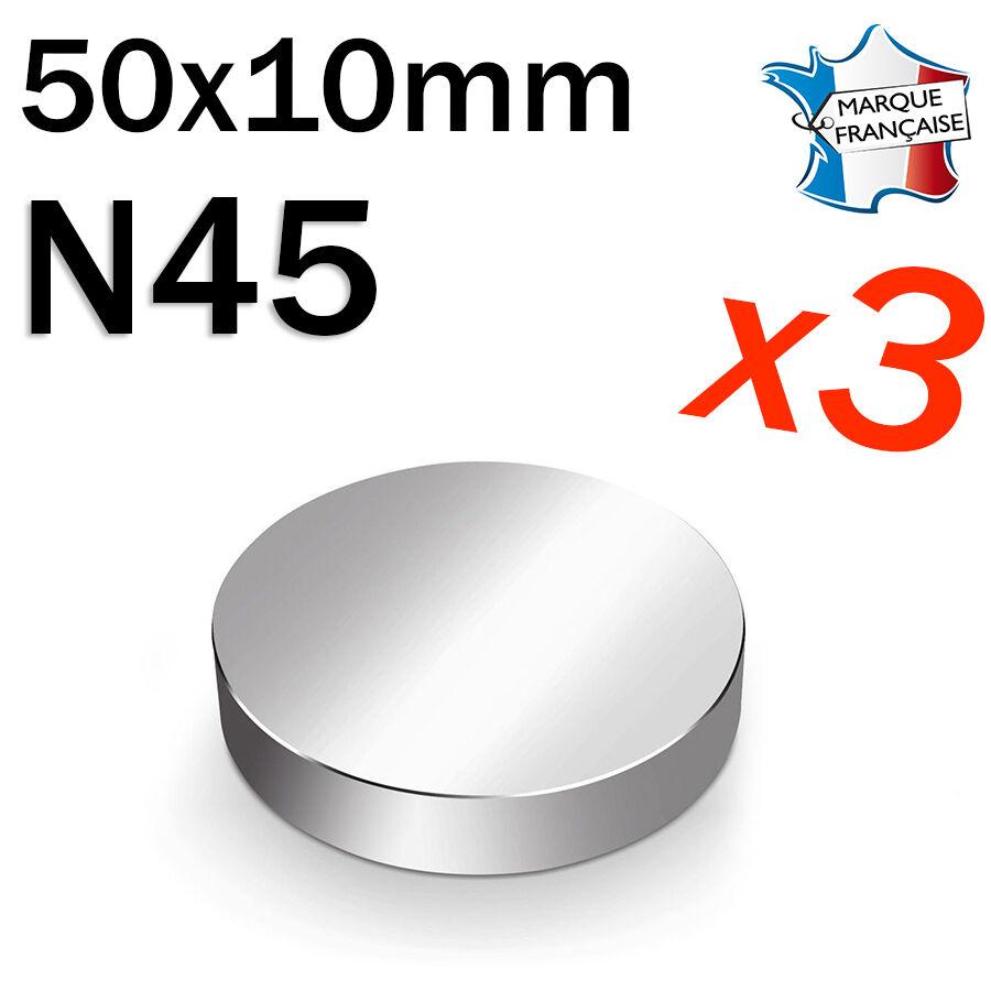 LOT DE 3 SUPER AIMANT MAGNET NEODYM DISQUE N45 - 50x10mm - 125Kg