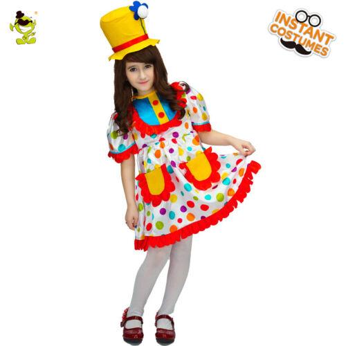 Colorful Dot Clown Costumes Carnival Masquerade Party Buffon Dress for kid girls