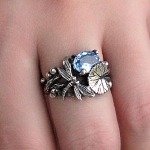 Femmes Argent 925 Topaze bleue Libellule Anneaux Mariage Fête Fashion Jewelry Gift