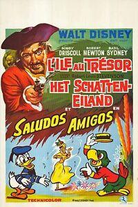 TREASURE ISLAND/SALUDOS AMIGOS origDISNEY movie poster ROBERT NEWTON/DONALD DUCK