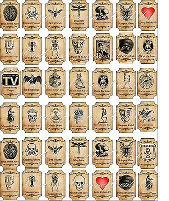 Halloween Magic steampunk mini bottle labels glossy stickers set of 54