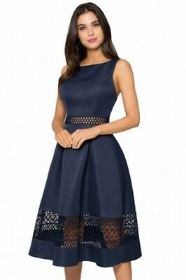 FUNKY BUDDHA Party-Kleid eng anliegendes Jerseykleid mit Schlitz knielang Navy