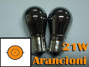 KIT-COPPIA-LAMPADINE-LAMPADE-CROMATE-ARANCIONI-FRECCE-21W-BA15S-W21W-SIMMETRICI