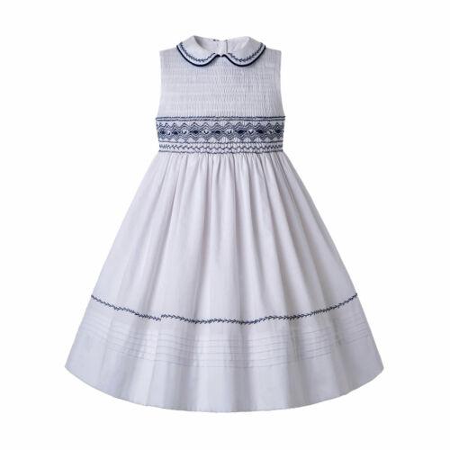 White Spanish Smocked Dresses Kids Girl Princess Birthday Party Prom  Embroidery