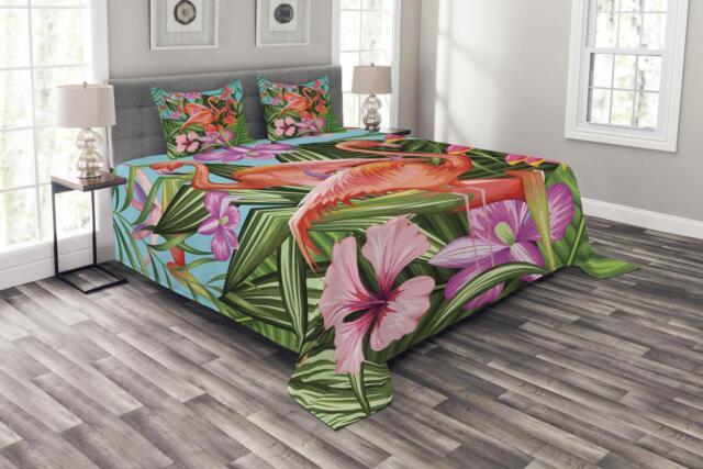 Flamingo Wandteppich und Tagesdecke Exotische Hawaii-Blatt Druck