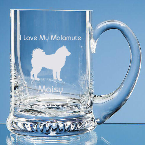Alaskan Malamute Dog Lover Gift Personalised Engraved Glass Tankard Dad Gift