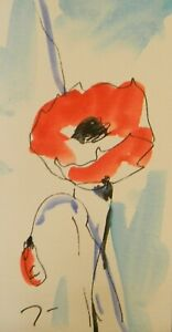 JOSE-TRUJILLO-ORIGINAL-Watercolor-Painting-SIGNED-Small-3x6-Red-Poppies-Blossom