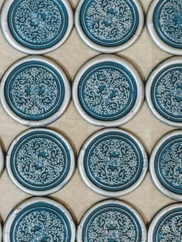 25 flexible FAUX WAX SEALS premade wedding envelope sticker adhesive TEAL SILVER