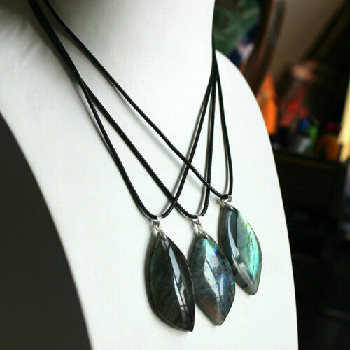 Natural Labradorite Quartz Crystal Pendant Necklace Polished Reiki Healing Gift