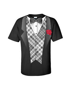 Tuxedo T-shirt Classy Tux with Plaid Vest and Rose Bow Tie