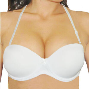 b58f446252a61 Sexy Strapless Thick Padded Push Up Bra Invisible Clear Back Straps ...