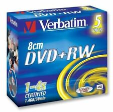 Verbatim DVD+RW 1.4GB 8cm 4x Speed 30min Camcorder Mini DVD DiscS Pack 5 (43565)