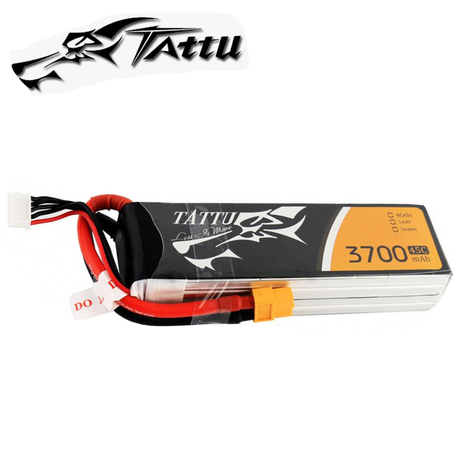 Tattu 3700mAh 14.8V 45C 4S Batería Lipo XT60 Enchufe para FPV Racing Quad Drone Heli
