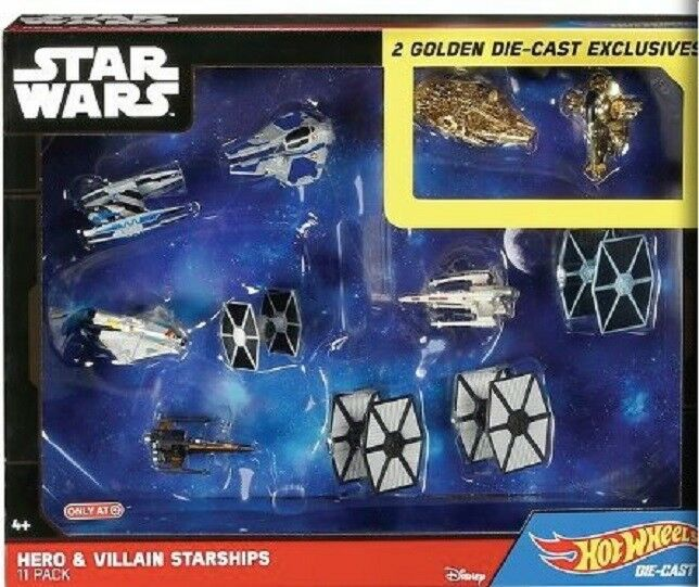 Star Wars Héroe Villano objetivo exclusivo  11 Envase con 2 buques de oro Hot Wheels