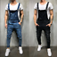 Men-Distressed-Denim-Overalls-Suspender-Trousers-Bib-Pants-Skinny-Jean-Jumpsuits thumbnail 2
