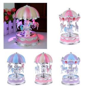 Spieldose Rotierenden Karussell Spieluhr Musikbox LED Licht Geschenk Spielzeug Spieldosen