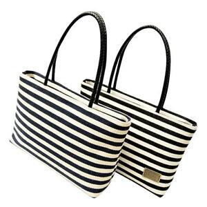 ee4eecd01e Fashion Women Canvas Striped Shoulder Bag Scarf Beach Shopping Tote ...