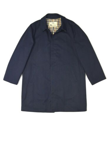 Aquascutum Trench Coat Mac Classic Raincoat Navy M