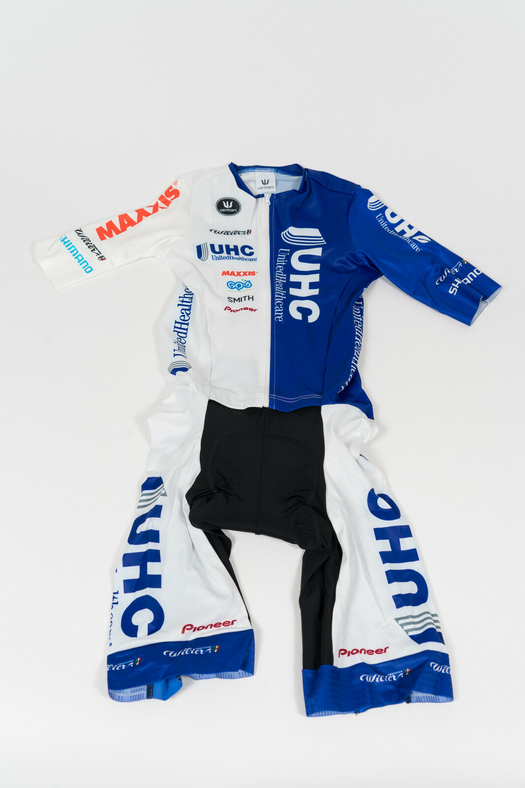 Nuevo Para hombres 2016 Vermarc UHC Pro embolsada traje para ciclismo, ciclismo manga corta Azul blancoo, Talla M