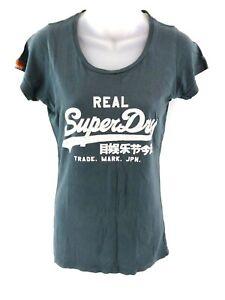 Haut-Femme-Superdry-T-Shirt-Top-S-petit-en-coton-vert
