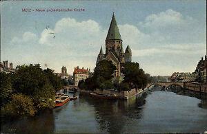 Metz-Lothringen-Frankreich-Color-AK-1942-gelaufen-neue-protestantische-Kirche