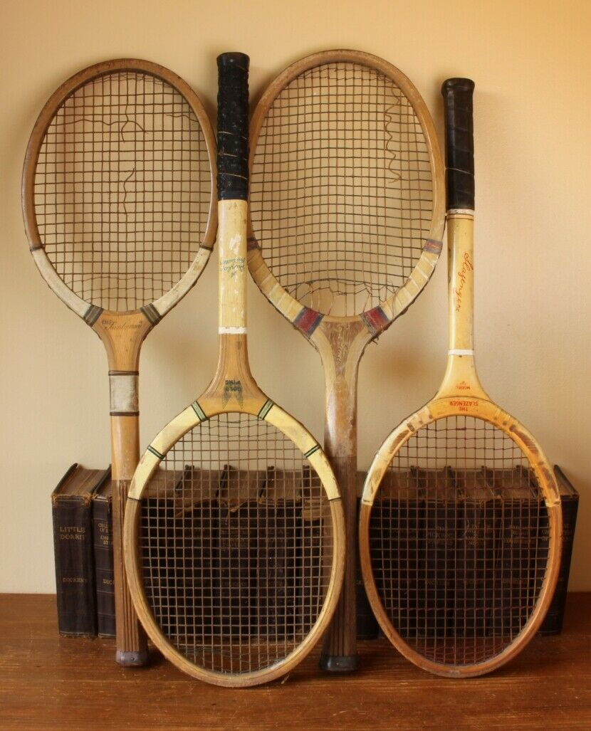 4 Vintage Tennis Rackets. Antique Racquets. Shop Display Sports Bar Prop. Dunlop