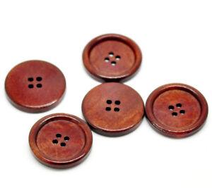 25-10-Knoepfe-Holz-30-mm-3-cm-kastanienbraun-Mantel-Poncho-Jacke-Tasche-NEU