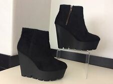 Cheap Monday Pony Hair Wedge Ankle Boots Size 37 Uk 4 Vgc Heels