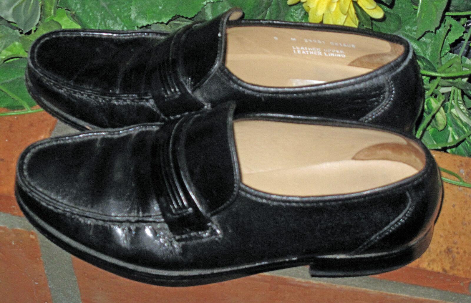 Mens BOSTONIAN STOCKBRIDGE Black Leather Dress Slip-On Shoes Size 9 D Slip-On Dress 46dc87