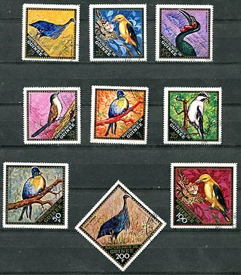 GUINEA 1971 BIRDS SET OF 9  STAMPS COMPLETE - $4.80 VALUE!