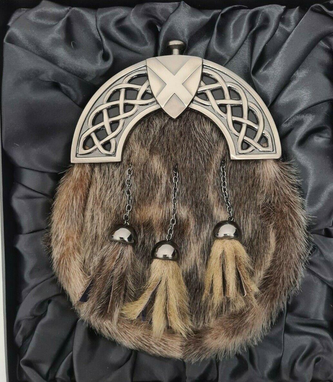 Antique Celtic Shield Saltire Cantle Seal Kilt Sporran & Chains Gift Boxed