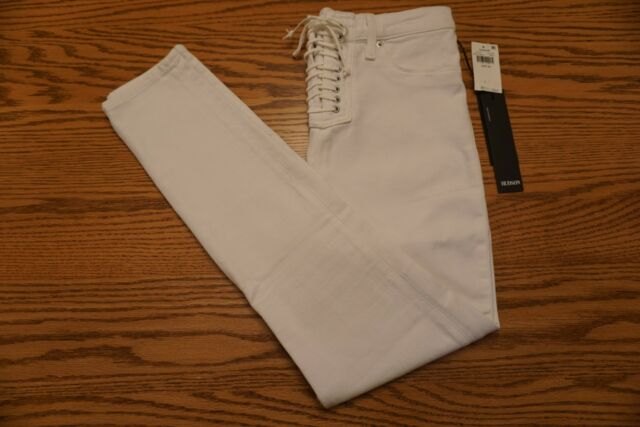 33edda1dd71 Hudson High Rise Bullocks Lace up Super SKINNY Jeans Ankle Size 29 Op White