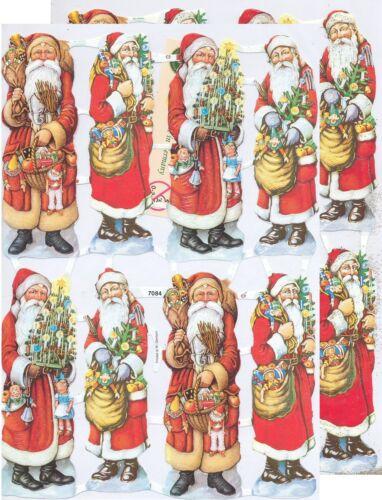 Chromo EF Découpis Père Noël 7084 Embossed Illustrations Santa