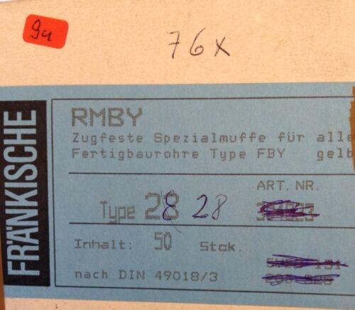 2 x Fränkische Muffe RMBY 28 mm  FBY Rohr Typ 28 Muffen mm  FBY Rohr Muffen