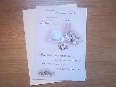 & Figlio Speciale Moglie Biglietto D'auguri Congratulazioni Matrimonio Top Hat Scarpe (321)-s Greeting Card Top Hat Shoes (321) It-it