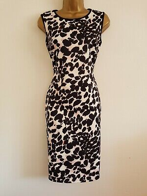 Ex Wallis Black Pink Animal Print Fitted Bodycon Dress Size 10-20